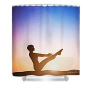 Woman In Full Boat Yoga Meditating At Sunset Shower Curtain