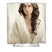 Woman In Fur Wrap Wearing Crown Shower Curtain