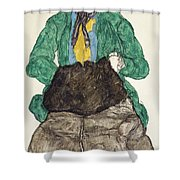 Woman In Green Blouse With Muff Shower Curtain