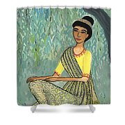 Woman In Grey And Yellow Sari Under Tree Shower Curtain