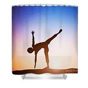 Woman In Half Moon Yoga Pose Meditating At Sunset Shower Curtain
