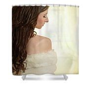 Woman In Her Bedroom Shower Curtain