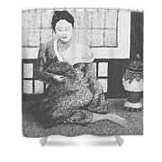 Woman In Kimono Shower Curtain by Don Perino