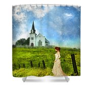 Woman In Lace By A Country Church Shower Curtain