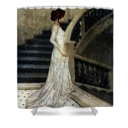 Woman In Lace Gown On Staircase Shower Curtain
