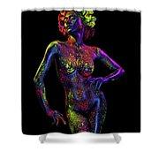 Woman In Leaf Headdress In Body Paint Shower Curtain