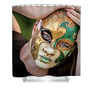 Woman In Mask Shower Curtain
