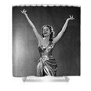 Woman In Metallic Dress, C.1950s Shower Curtain