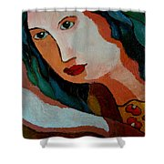 Woman In Orange And Blue Shower Curtain
