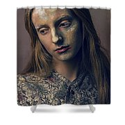 Woman In Painterly Look Shower Curtain