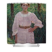 Woman In Pink Dress Shower Curtain