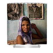 Woman In Purple Havana Cuba Shower Curtain