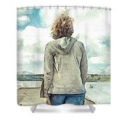 Woman In Rustico Harbor Prince Edward Island Shower Curtain