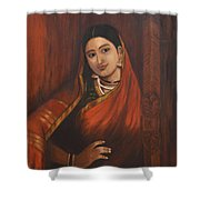 Woman In Saree - After Raja Ravi Varma Shower Curtain