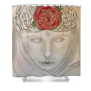 Woman In Scarf Shower Curtain