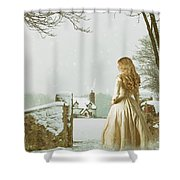 Woman In Snow Scene Shower Curtain