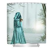Woman In Snowy Landscape Shower Curtain