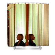 Woman In Soft Light Reflected Shower Curtain