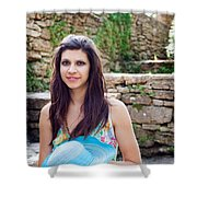 Woman In Spring Garden Shower Curtain