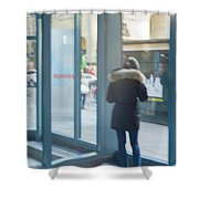 Woman In Storefront Shower Curtain