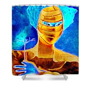 Woman In The Blue Mask Shower Curtain