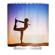 Woman In The Dancer Yoga Pose Meditating At Sunset Shower Curtain