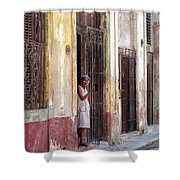 Woman In The Door Shower Curtain