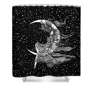 Woman In The Moon Shower Curtain