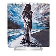 Woman In The Moonlight Shower Curtain