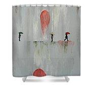 Woman In The Rain Shower Curtain