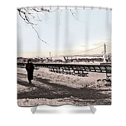 Woman In The Snow Shower Curtain