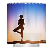 Woman In Tree Yoga Pose Meditating At Sunset Shower Curtain