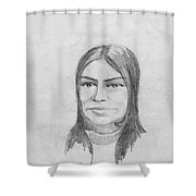 Woman In Turtle Neck Sweater Shower Curtain
