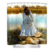 Woman In Victorian Dress By Water Shower Curtain