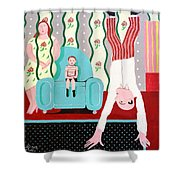 Woman In Wallpaper Shower Curtain