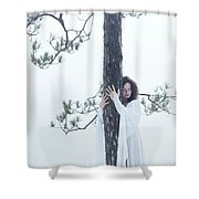 Woman In White Dress Hugging A Tree Shower Curtain