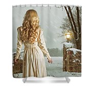 Woman In Winter Scene Shower Curtain