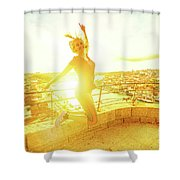 Woman Jumping At Oporto Shower Curtain