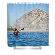 Woman Kayaking In Morro Bay Shower Curtain by Bill Brennan - Printscapes