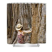 Woman Leaning On Giant Sequoia Tree Shower Curtain