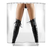 Woman Legs In Black Sexy Thigh High Stiletto Boots Shower Curtain