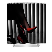 Woman Legs In Red Shoes Shower Curtain