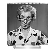 Woman Looking Over Her Glasses Shower Curtain