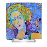 Woman Oil Portrait  Shower Curtain