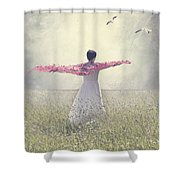 Woman On A Lawn Shower Curtain by Joana Kruse
