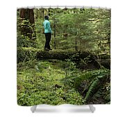 Woman On A Moss Covered Log In Olympic National Park Shower Curtain