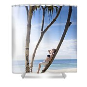 Woman On Holiday Shower Curtain