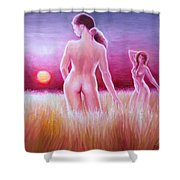 Woman On The Fields Of Gold Shower Curtain