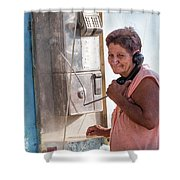 Woman On The Phone Shower Curtain