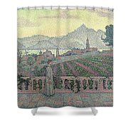 Woman On The Terrace Shower Curtain